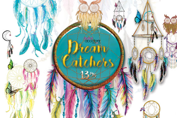 Print on Demand: Whimsical Watercolor Dreamcatchers Graphic Illustrations By Digital Doodlers