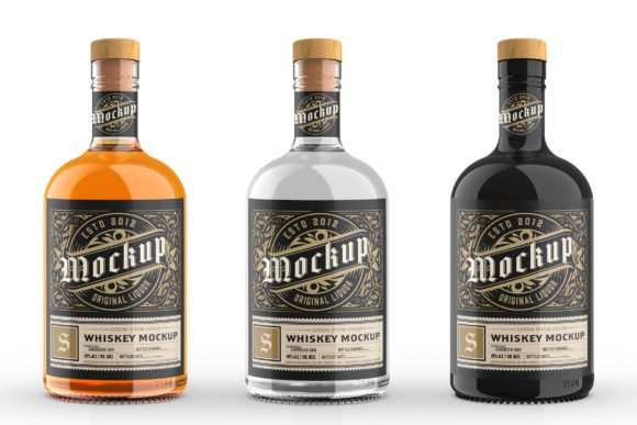 Print on Demand: Whiskey Glass Bottle Mockup Graphic Product Mockups By Roverto Castillo