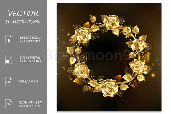 Wreath of Gold Roses Graphic Illustrations By Blackmoon9