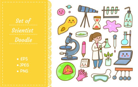 Scientist and Laboratory Equipment Graphic Illustrations By Big Barn Doodles