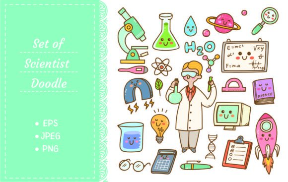 Scientist with Laboratory Equipment Graphic Illustrations By Big Barn Doodles