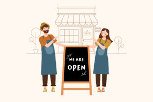 Print on Demand: Small Business We Are Open on Blackboard Graphic Illustrations By Musbila
