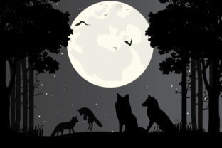 Print on Demand: Wolf Silhouette Graphic Illustrations By curutdesign