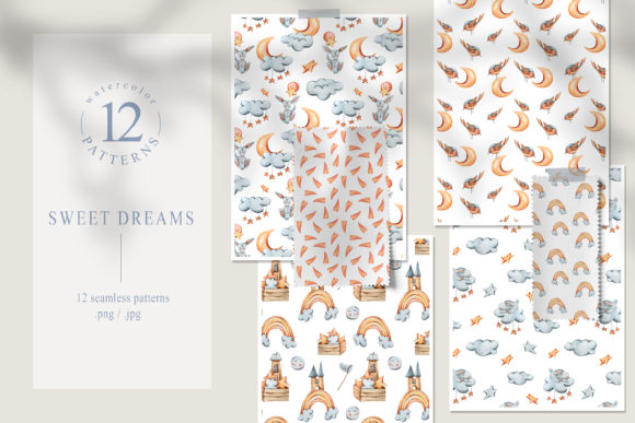 Print on Demand: 12 Watercolor Bunny Seamless Patterns Graphic Patterns By Tiana Geo