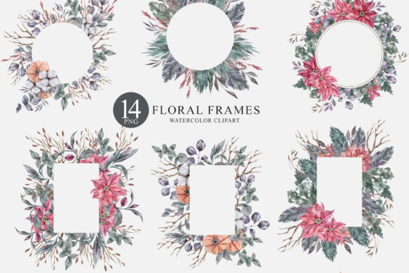 Print on Demand: 14 Watercolor Christmas Frames Clipart Graphic Illustrations By Tiana Geo