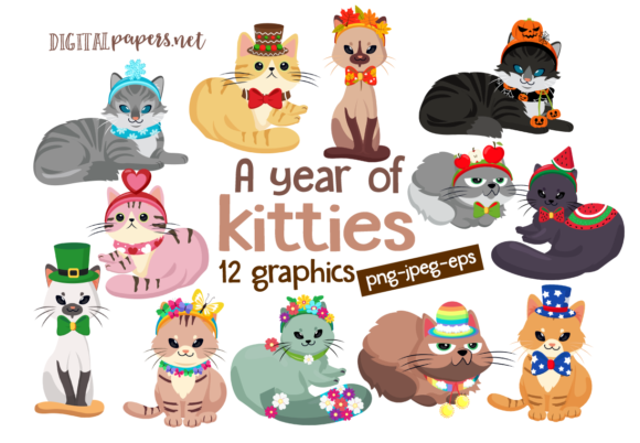Print on Demand: A Year of Kitties Clipart Set Graphic Illustrations By DigitalPapers