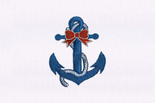 Anchor with Bow Beach & Nautical Embroidery Design By DigitEMB