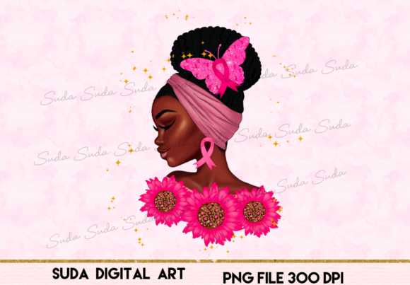 Print on Demand: Black Queen Flower Pink Design Graphic Illustrations By Suda Digital Art