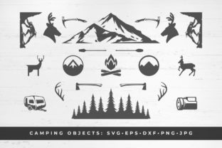 Camping and Mountains Vector Set Graphic Illustrations By vasyako1984