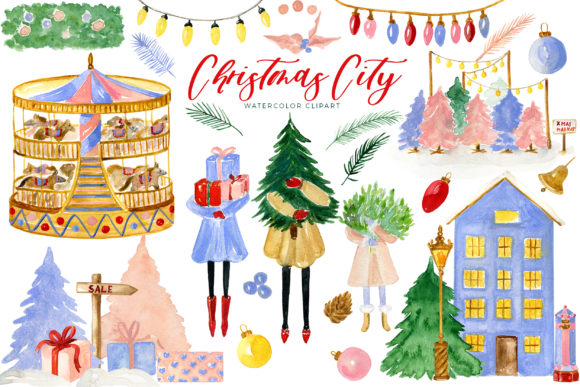 Christmas City | Watercolor Clipart Graphic Illustrations By LABFcreations