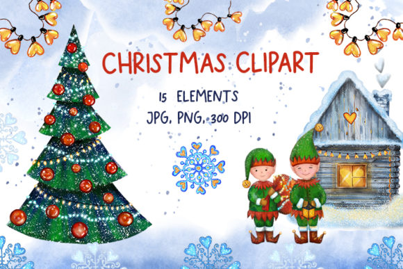 Christmas Clipart. Elves, Christmas Tree Graphic Illustrations By oriongalaxy04