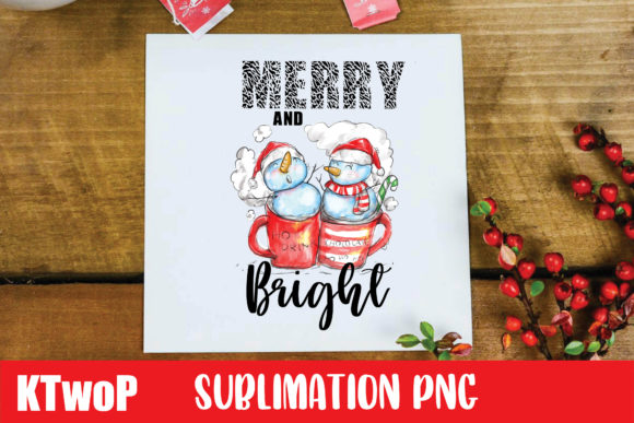 Print on Demand: Christmas Merry and Bright Snowman PNG Graphic Illustrations By KtwoP