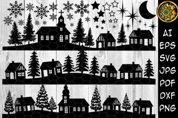Print on Demand: Christmas Scene Silhouette Clipart Graphic Illustrations By V-Design Creator