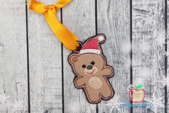 Christmas Teddy Bear ITH Ornament Christmas Embroidery Design By embroiderydesigns101
