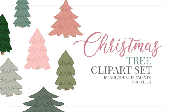 Print on Demand: Christmas Tree Clipart Sublimation Set Graphic Illustrations By Craft Point Art