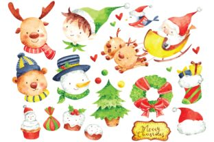 Christmas Character Watercolor Vector Graphic Illustrations By Big Barn Doodles