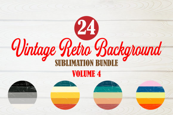 Print on Demand: Circle Vintage Retro Background Bundle 4 Graphic Crafts By TripleBcraft