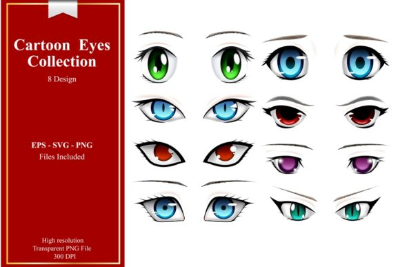 Collection of Cartoon Eyes Vector Graphic Illustrations By Ka Design