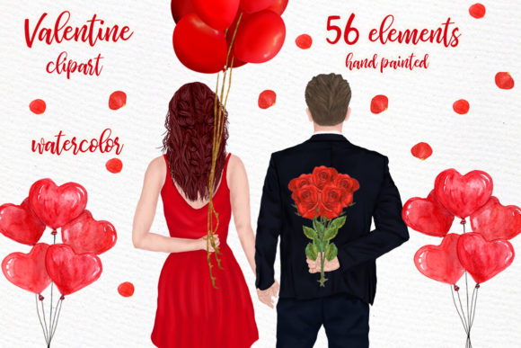 Couples Clipart Valentines Day Graphic