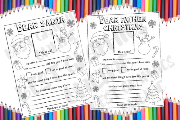 Dear Santa Coloring Christmas Letter Graphic Coloring Pages & Books Kids By bestgraphicsonline