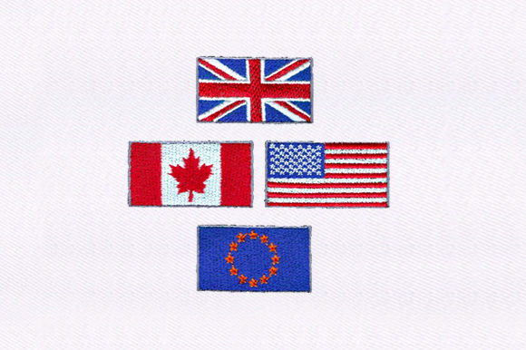 Eu,Us & Uk,Canada Flag Independence Day Embroidery Design By DigitEMB