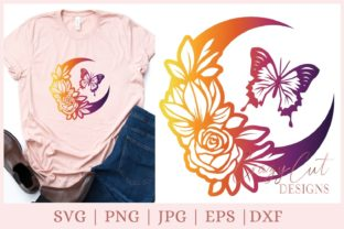 Flower Moon, Butterfly Graphic Print Templates By CrazyCutDesigns