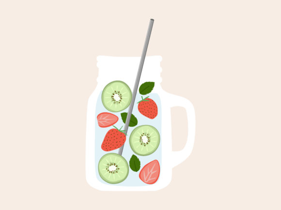Print on Demand: Fruit Infused Water Detox Refreshment Graphic Illustrations By Musbila
