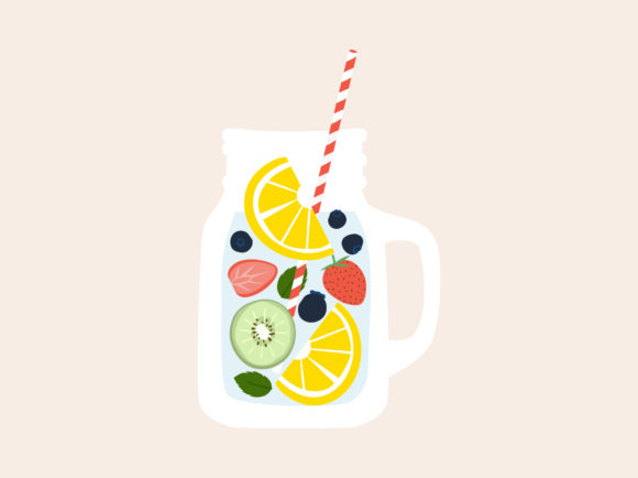 Print on Demand: Fruit Infused Water in Mason Jar Mugs Graphic Illustrations By Musbila