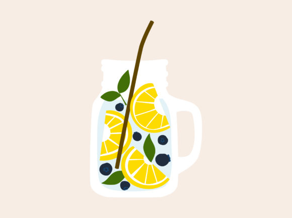 Print on Demand: Fruit Infused Water Lemon Blueberry Mint Graphic Illustrations By Musbila