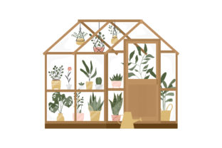 Print on Demand: Garden with Greenhouse or Home Gardening Graphic Illustrations By Musbila