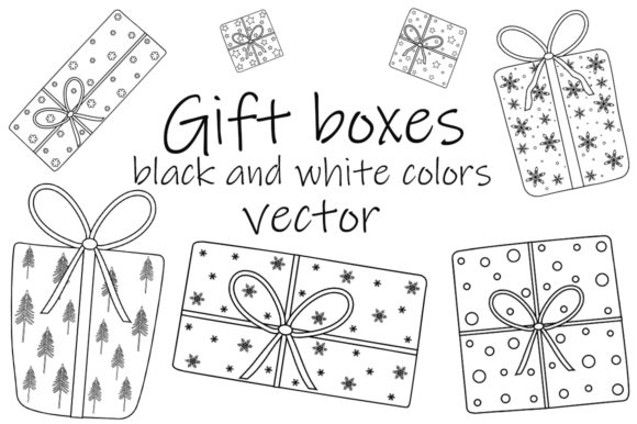 Gift Boxes Black and White Coloring Graphic Illustrations By shishkovaiv