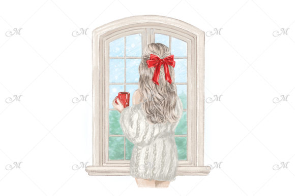 Girl in Christmas Illustration Graphic Illustrations By MaddyZ