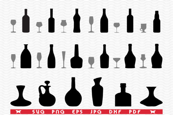 Glasses, Bottles, Black Silhouettes Graphic Icons By DesignStudioRM