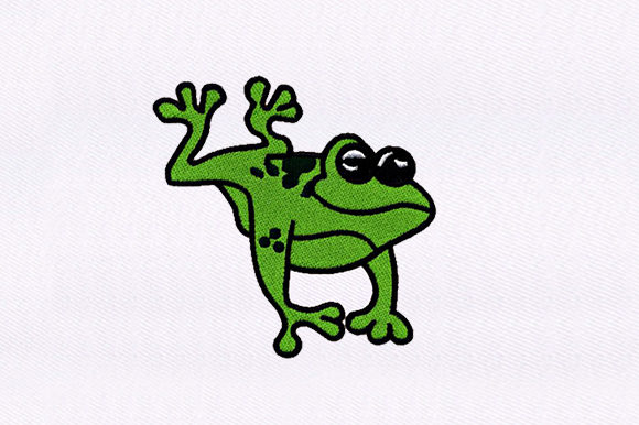 Happily Frog Reptiles Embroidery Design By DigitEMB