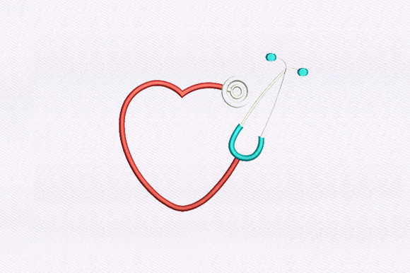 Heart Stethoscope Awareness Embroidery Design By DigitEMB