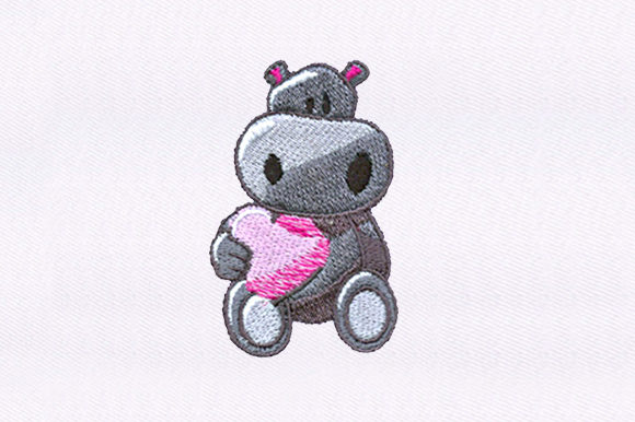 Hippo Holding a Heart Baby Animals Embroidery Design By DigitEMB