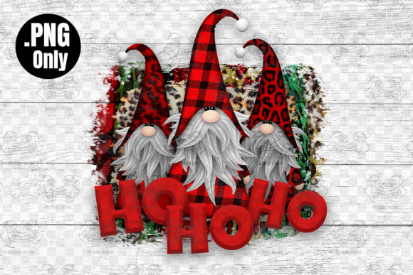 Print on Demand: Ho Ho Ho, Gnome PNG, Christmas Sublimati Graphic Crafts By CraftsCreateShop