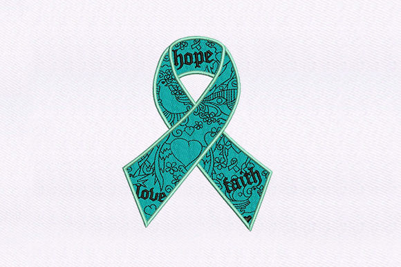 Hope Love Faith Ribbon Awareness Embroidery Design By DigitEMB