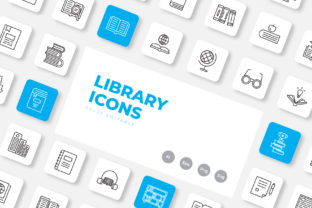 Print on Demand: Library Icon Set Outline Graphic Icons By upnowgraphic