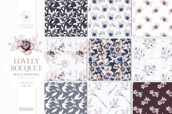 Lovely Bouquet Floral Pattern Collection Graphic Illustrations By Busy May Studio