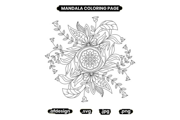 Print on Demand: Mandala and Flowers Coloring Page Graphic Coloring Pages & Books Adults By doridodesign
