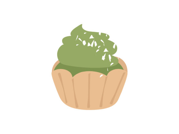 Print on Demand: Matcha Green Tea Cupcake Graphic Illustrations By Musbila