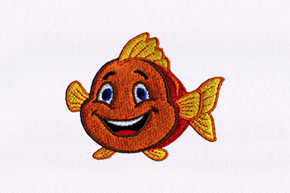 Mermaid Flounder Fish & Shells Embroidery Design By DigitEMB