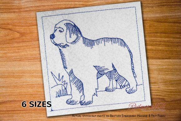 Newfoundland Dog Breed Lineart Dogs Embroidery Design By embroiderydesigns101