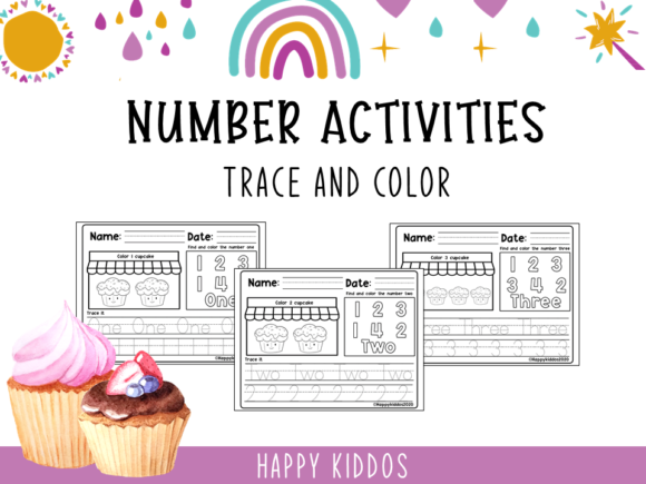 Number Activities: Trace and Color Set 2 Graphic K By Happy Kiddos