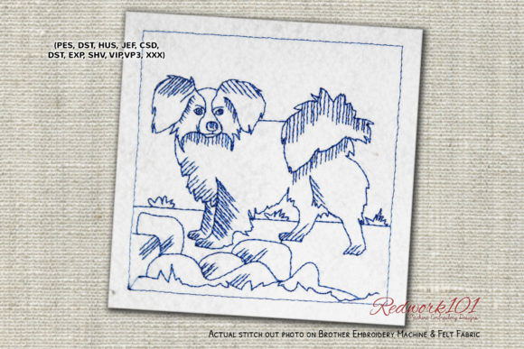 Papillon Dog with Long Shaggy Ears Dogs Embroidery Design By embroiderydesigns101