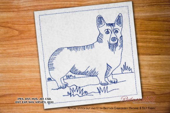 Pembroke Welsh Corgi Dog Lineart Dogs Embroidery Design By embroiderydesigns101