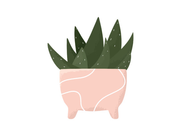 Print on Demand: Potted Indoor Aloe Succulent Flower Vase Graphic Illustrations By Musbila