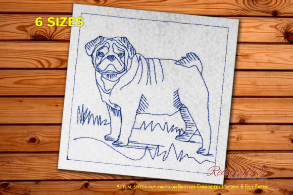 Pug Dog Bluework Dogs Embroidery Design By embroiderydesigns101