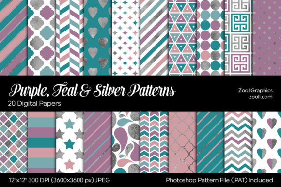 Purple, Teal and Silver Digital Papers Graphic Patterns By ZoollGraphics